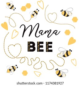 Baby shower invitation template with text Mama Bee decorated bee, heart hive Cute card design for girls boys with bees. Vector illustration. Banner for Mothers Day congratulation logo symbol sign