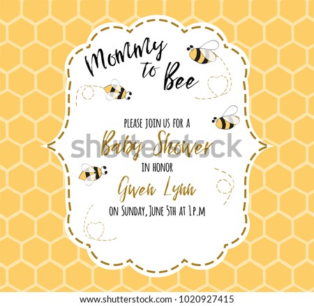 Baby Shower Invitation Template Text Mommy Stock Vector Royalty