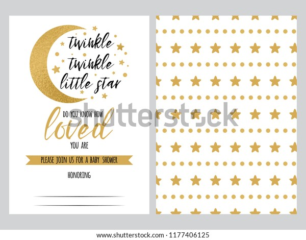 Baby Shower Invitation Template Twinkle Little Stock Vector Royalty