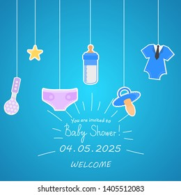 Baby Shower Invitation Template. Vector