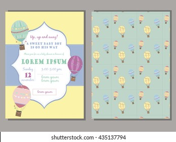 Baby shower invitation template vector set with  vintage hot air balloons. Retro frame. For boys or girls.