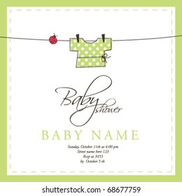 Baby shower invitation template vector Cute unique hand drawn illustration Baby arrival card
