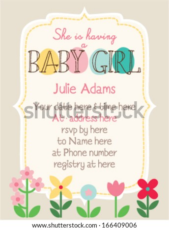 Baby Shower Invitation Template Woodland Flowers Stock Vector