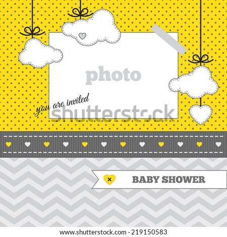 Baby Shower Invitation Template Yellow Gray Stock Vector Royalty