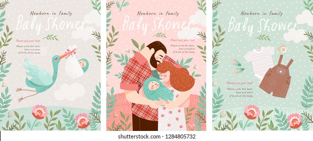 Baby Shower Invitation templates with cute illustration of a happy family with a small baby in a flower frame, vector objects for congratulations on a newborn, stork with a child, baby clothes