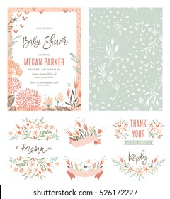 Baby Shower invitation templates with floral and typographic design elements. Menu, Thank You, Reception Card, seamless pattern and banners. Vector illustration.