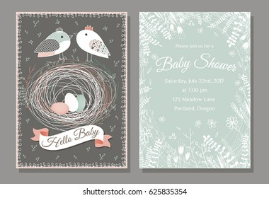 Baby Shower invitation templates with flowers, herbs and birds