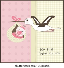 Baby shower invitation, vector