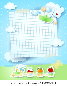 Baby shower invitation, vector background
