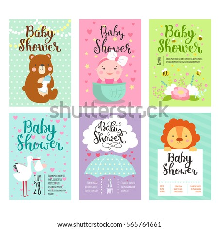 691d37164f45 Baby shower invitation vector card. Kids party new born celebration. Baby invitation  cute adorable