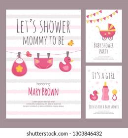 Baby shower invitation vector illustration set in flat style.