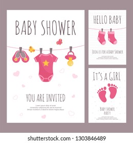 Baby shower invitation vector illustration set in flat style - vertical banners with pink toddler toys and clothing.