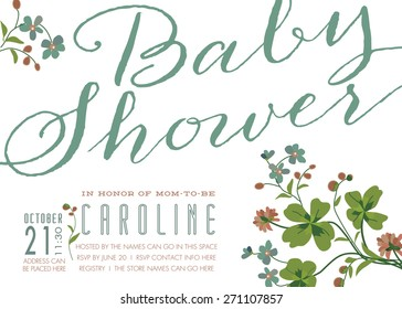 Baby Shower Invitation - Vintage Style Invite with Clover Flowers, Vector