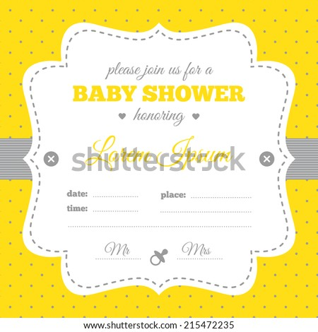Baby Shower Invitation White Gray Yellow Stock Vector Royalty Free
