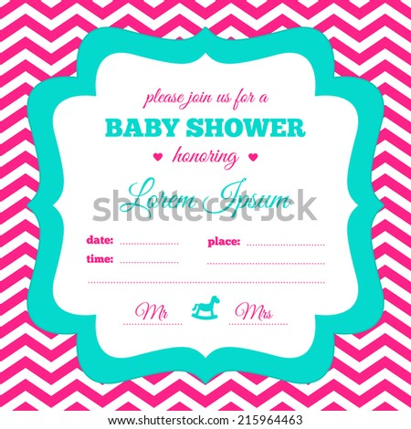 Baby Shower Invitation White Hot Pink Stock Vector Royalty Free