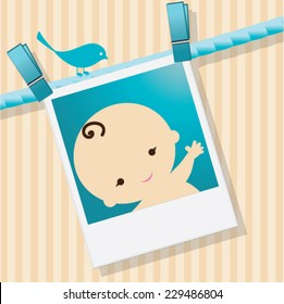 Baby shower invitation/Announcement template vector / illustration. baby arrival Unique Greeting card. Its A Boy. Welcome baby card