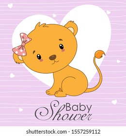 Baby shower invitation.Cute lion with pink background and hearts