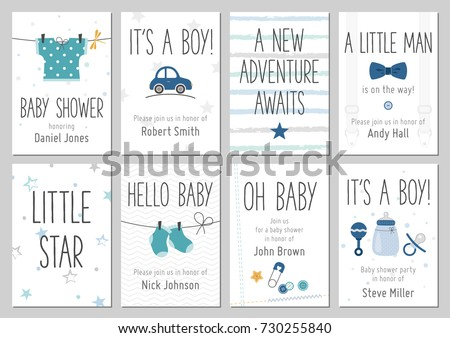 Baby Shower Invitations Baby Boy Arrival Stock Vector Royalty Free