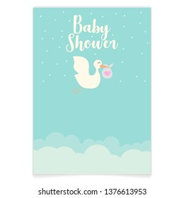 baby shower invitations cards,poster,greeting,template,stork,Vector illustrations