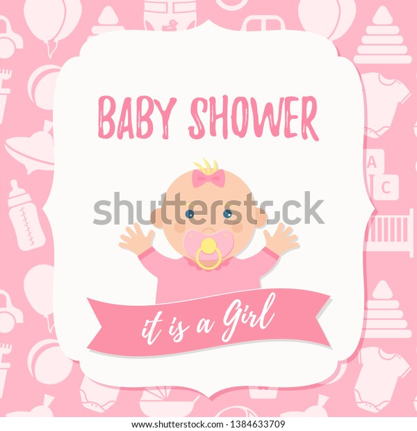 Baby Shower Invite Card Vector Baby Stock Vector Royalty Free 1384633709