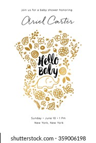 Baby Shower Invite Design. Baby Shower Card. Baby Shower Invite in Gold.