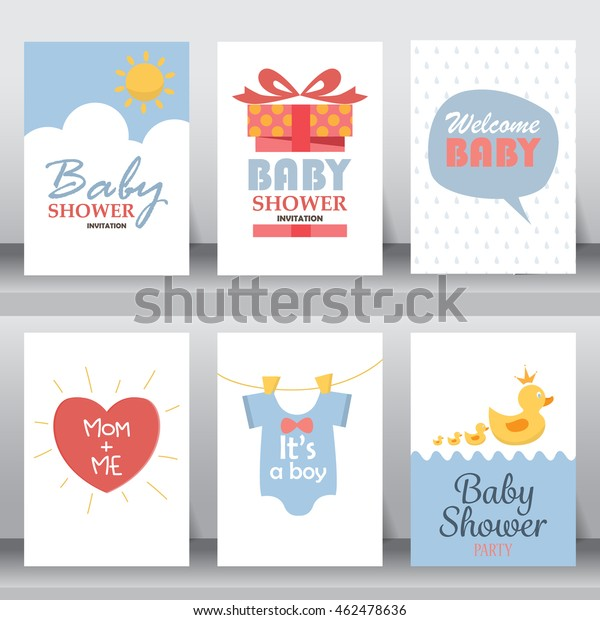 Baby Shower Party Greeting Invitation Card Stock Vector