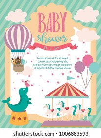 Baby Shower party invitation card with circus theme. Vector illustration