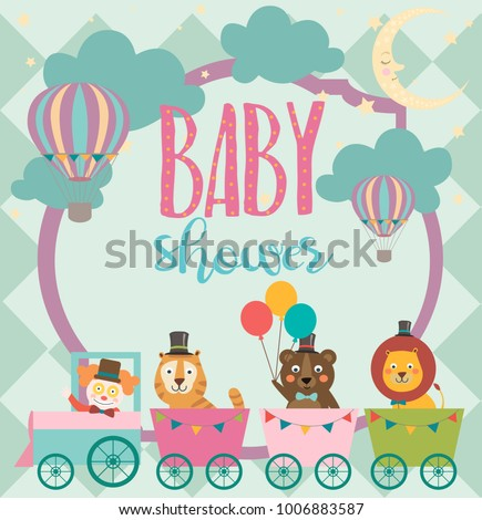 Baby Shower Party Invitation Card Circus Stock Vector Royalty Free