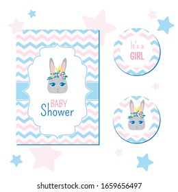 Baby shower party invitation . Gentle bunny princess in a crown and a floral wreath on her head. Pastel colors on a white background. Greeting card for newborns vector template