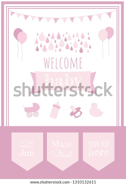 Baby Shower Party Invitation Template Welcome Stock Vector Royalty