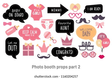 Baby shower photo booth props. Happy birthday party for girl. Pink cards and speech bubble with funny quotes for new born and parents. Vector photobooth set: bottle, nippel, stroller