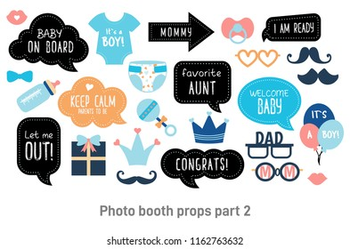 Baby shower photo booth props. Happy birthday party for boy. Blue cards and speech bubble with funny quotes for new born and parents. Vector photobooth set: bottle, nippel, stroller