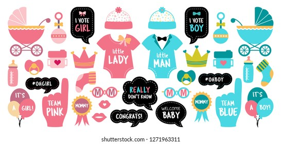 Baby shower photo booth props. Gender reveal party. Pink and blue cards to choose boy or girl. Vector photobooth set: bottle, nippel, foot, bib, rattle, pram, stroller. Good for invitation, banner.
