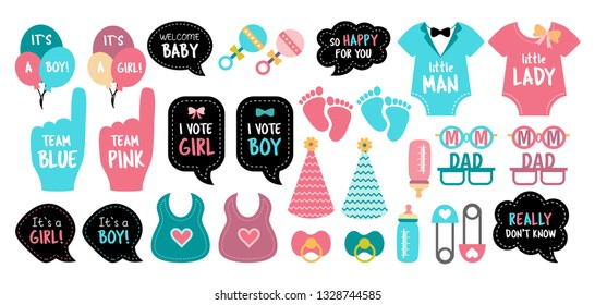 Baby shower photo booth props. Gender reveal party. Pink and blue cards to choose boy or girl. Vector photobooth set: bottle, nippel, feet, toy. Good for invitation, banner, poster. Birthday template.