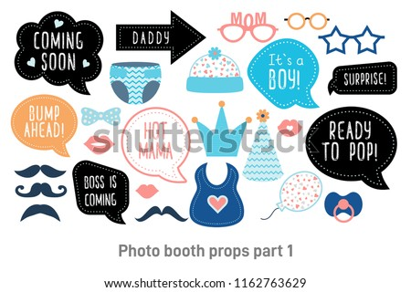 Baby Shower Photo Booth Props Happy Stock Vector Royalty Free