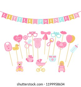 Baby shower photo props, booth on sticks. Vector. Birth reveal party for baby girl. Pink speech bubble, flags for newborn, parents Photobooth set bib, bodysuit, bottle, nippel, stroller, rattle, duck