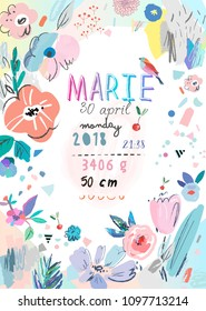 Baby Shower poster for baby girl with hand drawn flowers. Newborn metric for children bedroom. Vector