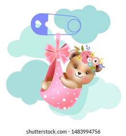 baby shower poster template with bear girl