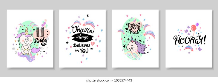 Cute Magic Unicorn Poster Greeting Card Stock Vector 778429969