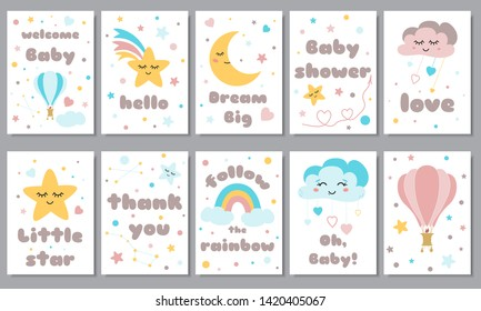 Baby shower posters set with smiling stars dreaming moon cute rainbow hot air balloon Invitation with kids phrases Baby arrival and shower collection with lettering vector illustration.