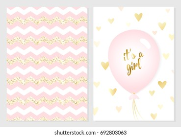 Baby shower posters set. Vector invitation with cute pink and gold kids pattern. Baby arrival and shower collection with lettering and balloon. It's a girl vector greeting card.