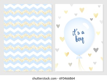 Baby shower posters set. Vector invitation with cute blue and gold kids pattern. Baby arrival and shower collection with lettering and balloon. It's a boy greeting card.