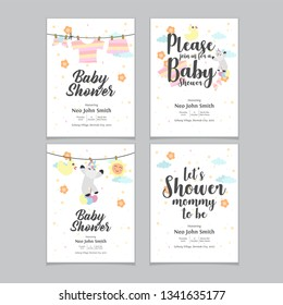 Baby shower posters. Vector invitation with cute kids illustration. Baby arrival and shower