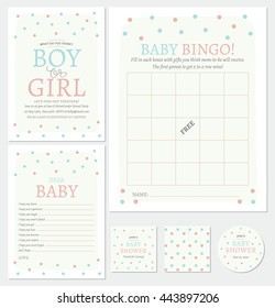 Baby Shower Printable Card featuring bingo game, invitation, dear baby, stickers, and flavor tag.