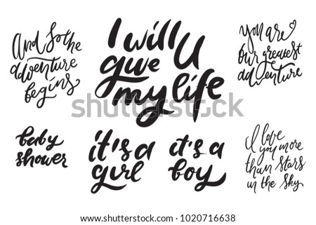Baby Shower Quotes Hand Lettering Illustration Stock Vector Royalty