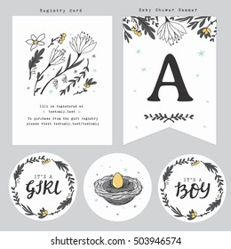 Baby Shower Registry Card Template, Gift Tags and Flags Banner with hand lettering, cute nest and flowers. Gender Neutral.