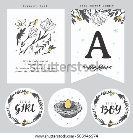 Baby Shower Registry Card Template Gift Stock Vector Royalty Free