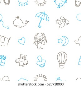 Baby shower related seamless pattern. Cartoon style cute design elements for greeting cards, package design, prints, apparel. Hand drawn vintage illustration.