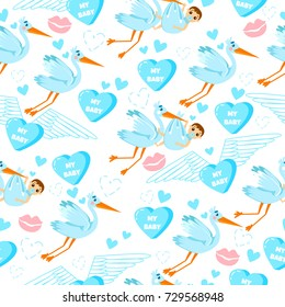 Baby shower. Seamless pattern for boys with stork, kiss, love, hearts and kids.