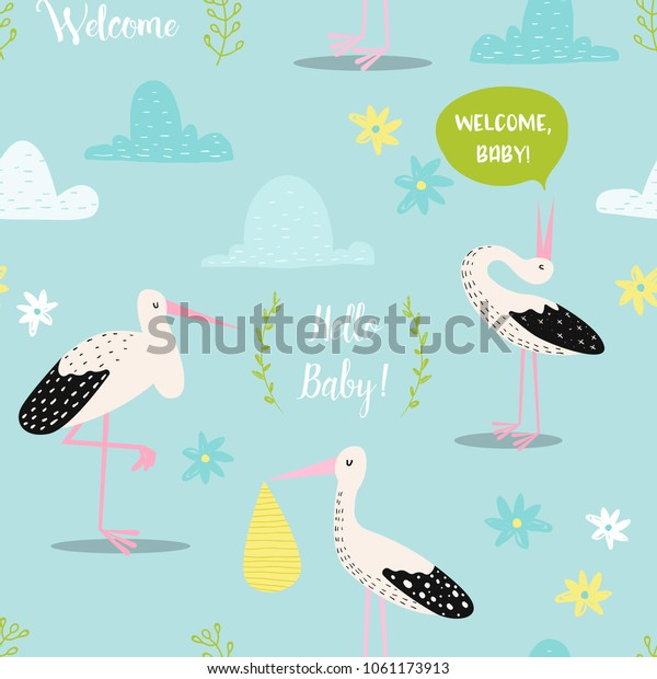 Baby Shower Seamless Pattern Cute Storks Stock Vector Royalty Free 1061173913